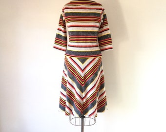 1970s Vintage Chevron Stripe Dress Set Boat Neck Separates 70s Retro Secretary S/M