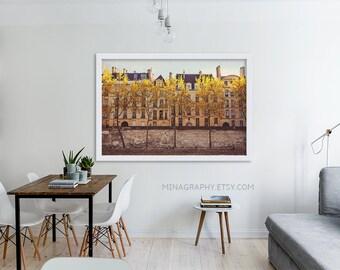 """Paris Photography // Paris, France Prints // Paris Architecture // French Decor for a modern home // Large Print  - """"Parisians on the Seine"""""""