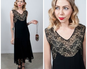 Vintage 1920's Black Lace and Chiffon Dress/ 20's Lace Dress with Illusion Bodice/ Flapper Dress Size X-small/Small
