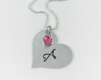 Heart with Swarovski Crystal Birthstone - Stainless Steel Pendant with Hand Stamped Initial - Initial Necklace - Birthstone Necklace