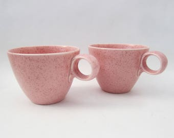 Vernonware Mid-Centry Millennial Pink Speckled Coffee Cups, Tea Cups // SET OF 2
