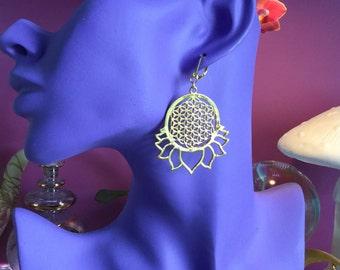 Lotus Flower of Life earrings
