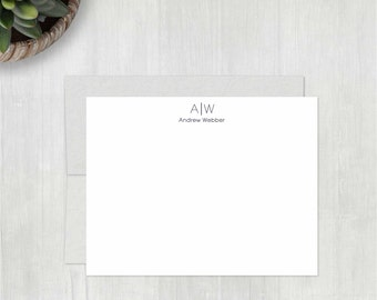 Personalized Note Cards Set • Divided Initials {FLAT} • 10 Notecards with Envelopes • Personalized Stationery • Personalized Stationary