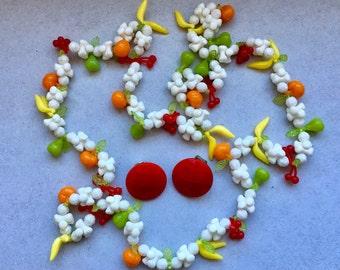 1960's Fun plastic fruit necklace & Red Glass Earrings - Festival Wear - Plastic jewelry - Fun Fruit Necklace - Forbidden Fruit - EPSTEAM