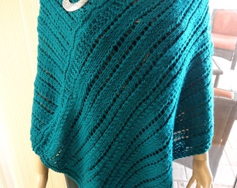 PONCHO, TEAL, LIGHT Weight, open lacey stitch, all season wear, silver brooch included, worsted weight acrylic yarn, medium to extra large