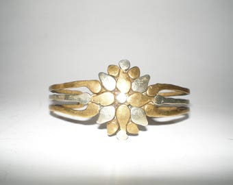 Sterling Brutalist/Modernist Cuff Bracelet Sterling & Brass Mixed Metal Cuff Artisan Handcrafted Chic OOAK