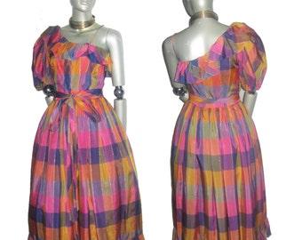 Vintage Stunning A J Bari Muticolor Pastel Metallic Gold Vertical Hortizontal Stripe Plaid One Shoulder Asymetrical Ruffle Tulle Belt Dress