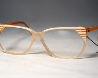 Vintage France 1980's Eyeglass Frames, New Old Stock, Diane De Carlo, Blush Beige