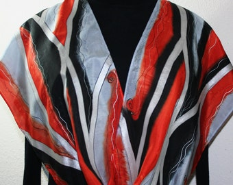 Silver Grey, Orange, Black Hand Painted Silk Shawl WINTER SUNSET. Handmade Scarf. Holidays Gift. Gift-Wrapped. Offered in 2 SIZES.