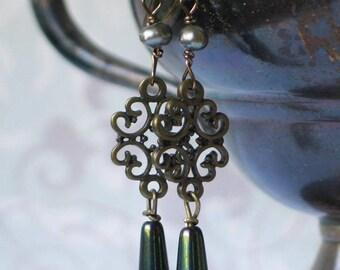 Filigree and Blue Green Iridescent Czech Teardrop Earrings, 18th century jewelry, 19 century jewelry