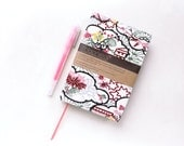 """A6 Notebook Pink and Black Reusable Vintage Kimono Silk Fabric Journal / Diary and Cover """"Clouds"""""""