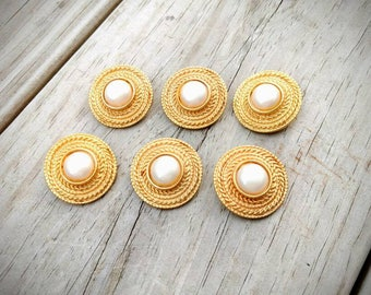 Vintage Solid Brass Buttons with Pearl Center