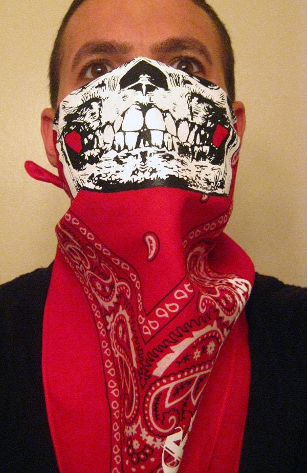 Blood Red Paisley Half White Skull Face Mask Bandanas Neck