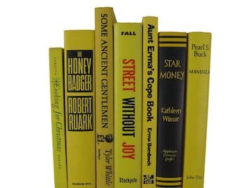 Yellow  Decorative Books, Vintage Wedding Decor , Vintage Book Decor , Home Decor , Photo Prop , Bookshelf Decor , Old Book Decor ,