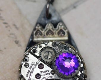 Steampunk Necklace Sterling Boho Gyspy Silver Necklace Gothic Crown Black Purple Vintage Watch Necklace Unique Jewelry Heliotrope Soldered