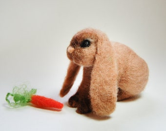 Needle Felted Lop Rabbit, French Lop Rabbit, Lop Bunny Rabbit, Lop Bunny Sculpture, Needle Felted Lop Bunnies, Lop Rabbits Felted Toy