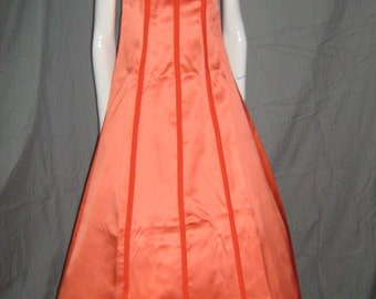 1960's Orange Satin Dress Gown Formal Bridesmaid Velvet Details Late 50s Mod Rockabilly Vlv