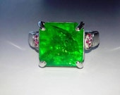 Stunning Certified Natural Emerald, Rubies In Sterling Silver Cocktail Ring, 5.65ct. Size 7