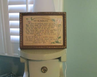 """Antique Poem Framed 1913 """"My Somebody"""" / PF Volland Special Person Gift"""