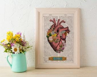 Summer Sale Flowery heart LOVE, book art Print- Wall art. Human anatomy print Chic Science prints Human anatomy and flowers SKA132