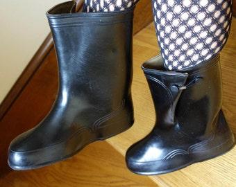 Shiny black rubber galoshes rain boots vintage girl's school overshoes retro funky steampunk rubber fetish hip hop fashionista women US 6-7