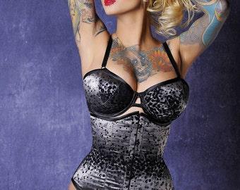 grey satin and velvet flocked under-bust corset