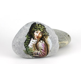 Painted stone beach rock art Ready to ship free express shipping Little fairy with cat sprite of the forest painted pebble beach pebbles art