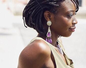 Purple Tear Drop Earrings