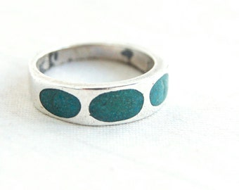 Turquoise Ring Band Size 6 Vintage Mexican Sterling Silver Sky Windows Southwestern Boho Jewelry