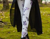 new! Silver Butterfly Leggings , ivory, silver, purple, leggings, printed tights, womens bottoms,