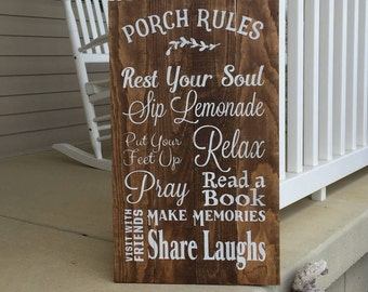Porch Rules Sign, Wood Sign, Porch Sign, Rustic Home Decor, Porch Decor, Farmhouse Decor, Summer Sign, Hand Painted Sign 22605