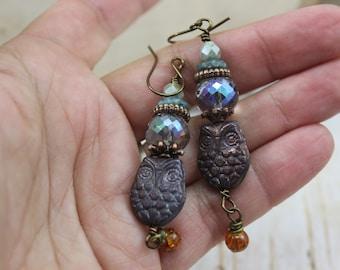 Rustic Owl Earrings, Fall Dangle Earrings, Boho Gypsy Earrings