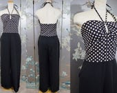 Reserved.... 1930 - 1940s BEACH PAJAMA JUMPSUIT with polkadots