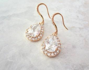 Gold earrings, Cubic zirconias, Gold over sterling ear wires, Gold teardrop earrings, Gold bridal earrings, Bridesmaids earrings,LUX quality