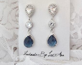Sapphire blue earrings - Brides earrings ~ Blue teardrop earrings - Sparkling - Cubic zirconias - Sterling silver posts - Something blue -