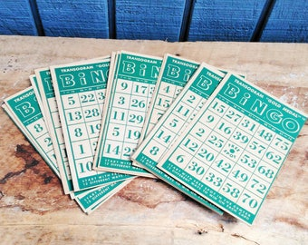 Vintage Bingo Cards - Set of 17 Bingo Cards - Green Bingo Cards - Scrapbooking - Vintage Games