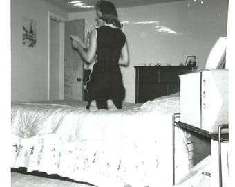 "Vintage Snapshot ""Love Letter"" Woman Kneels On Bed Barefoot Rear Back View Portable TV Bedroom Found Vernacular Photo"