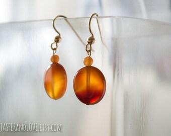 SUN FIRE carnelian dangle earrings, carnelian drop earrings, red ombre earrings, burnt orange earrings, asymmetrical earrings, red carnelian