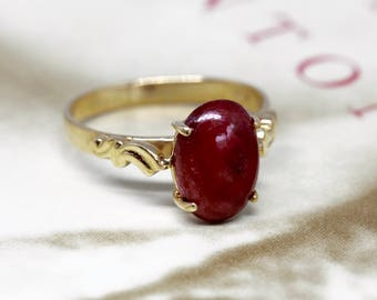 Art Nouveau Revival Ruby Engagement Ring, Vintage Unheated Natural Ruby Ring, 1980s 14k Yellow Gold Ruby Anniversary Ring, Antique Ruby Ring