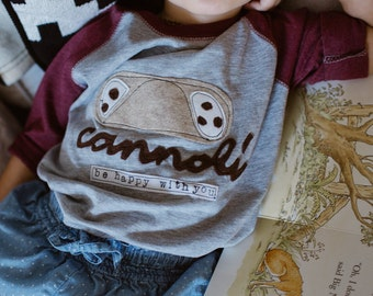 "Swanky Shank ""CANNOLI be Happy with You""baseball tee; Valentine's Day"