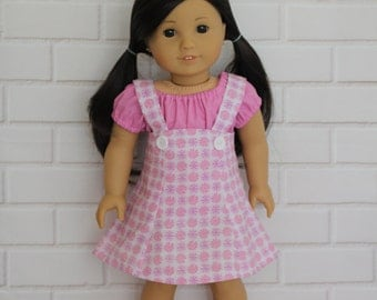 Pink Peasant Top White, Pink Pinafore Skirt Doll Clothes to fit 18 inch dolls to 20 inch dolls such as American Girl & Australian Girl dolls