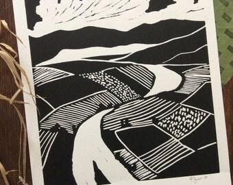 Watershed - original block print