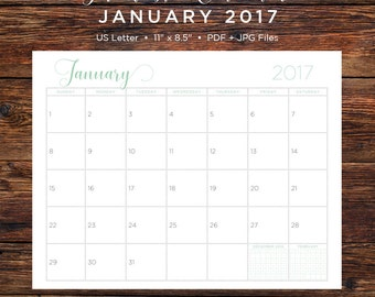 January 2017 Calendar | January 2017 | January | Calendar | Printable Calendar | Printable | Monthly Calendar | 2017 | Instant Download