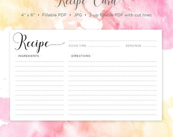 Recipe Card | 4x6 Recipe Card | Printable Recipe | Printable Card | Recipe | Printable | Recipe Cards | Instant Download | Recipe Template