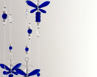 Kids Gift Blue Dragonfly Mobile Nursery Ideas Baby Boy Mobile Swarovski Crystal Suncatcher Angel Decor Hanging Birthday Present Decoration