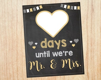 Wedding Countdown sign PRINTABLE  days until we're mr. and mrs. chalkboard INSTANT DOWNLOAD