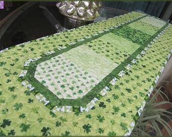 Quilted Irish Shamrock Table Runner St Patrick 703