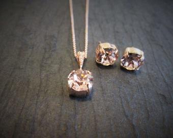 Rose Gold Swarovski Crystal Bridesmaid Set/Rose Gold Junior Bridesmaid Jewelry/Rose Gold Flower Girl Jewelry/Rose Gold Bridesmaid Earrings
