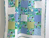 Baby Quilt featuring Michael Miller Elephants Lavender Aqua Blue Green White