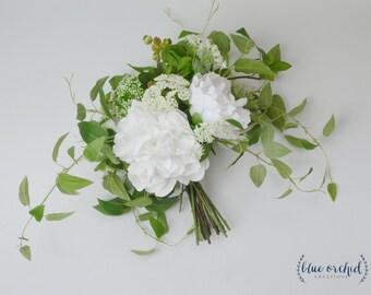 Wedding Bouquet, Silk Bouquet, Silk Flower Bouquet, Silk Bouquet, Bridal Bouquet, Boho Bouquet, Silk Wedding Bouquet, White Bouquet, Green